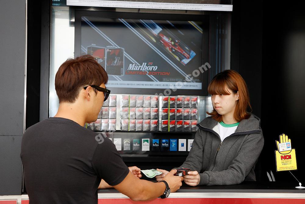 Stall selling Marlboro cigarettes before the 2012 Korean Grand Prix in Yeongam. Photo: Grand Prix Photo