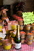 Foie Gras potted meats and Alfred Rothschild Brut champagne on sale Brantome, North Dordogne, France