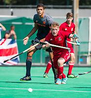 St.-Job-In 't Goor / Antwerpen -  6Nations U23 - Jacob Draper (GB) met Daniel de Haan (Ned).    Nederland Jong Oranje Heren (JOH) - Groot Brittannie .  COPYRIGHT  KOEN SUYK