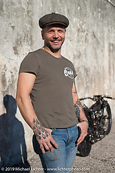 Samuele Reali of Abnormal Cycles with his just unveiled 1919 V-Twin Mag Motorcycle with a Sturmey-Archer transmission. Photographed at Motor Bike Expo in Verona, Italy. Sunday January 21, 2018. Photography ©2018 Michael Lichter.