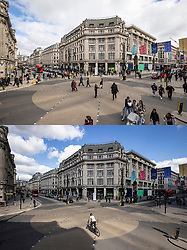 © Licensed to London News Pictures. 12/04/2021. London, UK. Paired images showing a busy Oxford Circus on Monday 12 April 2021 (TOP) after shops reopened, and the same location the day before, Sunday 11 April 2021 (BOTTOM), when shops were closed. Pubs, restaurants and non-essential shops reopened on Monday 12 April 2021 as England begins the second phase of 'unlocking' after months of lockdown. Photo credit: Rob Pinney/LNP