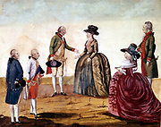 Catherine II, the Great (1729-1796) Empress of Russia from 1762 with Joseph II (1741-1790)  King of Germany 1765, Emperor of Austria from 1780, in 1787. Historischesmuseum, Vienna