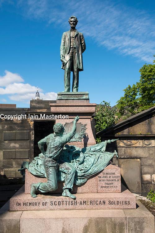 Statue of Abraham Lincoln in Old Calton Cemetery in Edinburgh, Scotland , United Kingdom