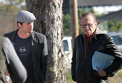 Dec 03 2007. New Orleans, Louisiana. Lower 9th Ward.<br /> Brad Pitt revisits the Lower 9th ward, devastated by Hurricane Katrina to present 'Make it Right' where architects' designs are unveiled to the public. Brad is interviewed by CNN's Larry King. Photo credit; Charlie Varley.