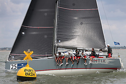 Brewin Dolphin Scottish Series 2014, the start of an International IRC competition racing on the Solent off Cowes and hosted by the RORC.<br /> <br /> Anthony O'Leary at the helm of Antix, a Ker 39 leading the fleet from Ireland<br /> Credit: Marc Turner
