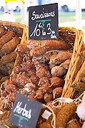 On a street market. Sausages dry cured. Bordeaux city, Aquitaine, Gironde, France