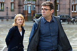 © Licensed to London News Pictures. 15/10/2020. Manchester, UK. Deputy Mayor Bev Hughes and Manchester Metro Mayor Andy Burnham arrive at a press conference in front of Manchester Central Library in St Peter's Square , central Manchester , as negotiations continue regarding placing the city on a Tier 3 lockdown, closing pubs and limiting the ways in which households can mix, in order to reduce the spread of Coronavirus . Photo credit: Joel Goodman/LNP