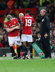 Manchester United's Marcus Rashford is substituted during the Carabao Cup, Third Round match at Old Trafford, Manchester.