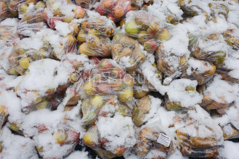 Snow-covered bags of Concorde apples on sale at an outside farmer's market in south London. It is mid-winter and during a particularly bleak spell of weather in central London where a stall of fruit and vegetables is selling to locals in the street, suppliers' higher prices being reflected in the winter conditions. The label says Concorde, an almond sweet crisp juicy apple, home grown in 1kg polythene bags, produced from Perry Court Farm near Ashford, Kent.