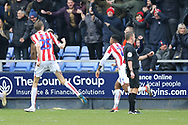 Stoke City forward Peter Crouch (25) celebrates the equaliser  during the The FA Cup 3rd round match between Shrewsbury Town and Stoke City at Greenhous Meadow, Shrewsbury, England on 5 January 2019.