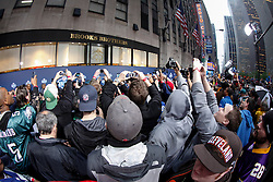 Fans try and get a glimpse of Draft Prospects as they arrive on the Red Carpet before the first round of the NFL Draft on April 26th 2012 at Radio City Music Hall in New York, New York. (AP Photo/Brian Garfinkel)
