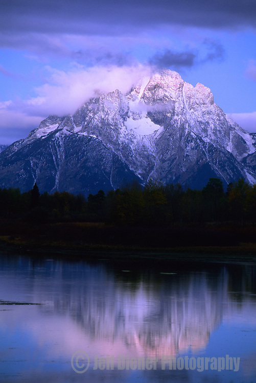 Sunrise on Mount Moran at Oxbow Bend in Grand Teton National Park, Wyoming.