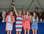 Henley on Thames. United Kingdom. GBR W4X.  Polly SWANN, Vicky MAYER-LAKER, Frances HOUGHTON and Helen GLOVER. with the Princess Grace Challenge Cup.  2013 Henley Royal Regatta, Henley Reach. 17:03:46  Sunday  07/07/2013  [Mandatory Credit; Peter Spurrier/ Intersport Images]