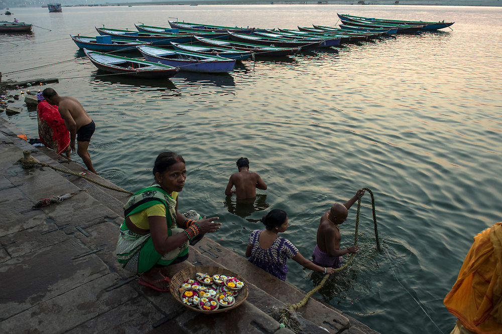 Puja at dawn in the Ganges.