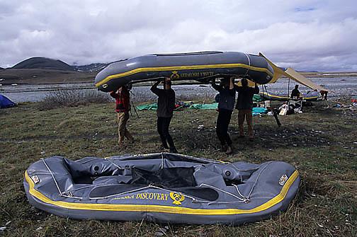 Alaska, Arctic National Wildlife Refuge. ANWR. Rafters along Kongakut River.