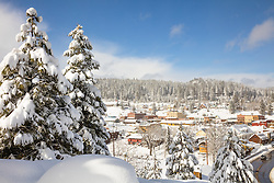 """""""Downtown Truckee 30"""" - Photograph of a snowy historic Downtown Truckee, shot in the afternoon, after a big snow storm."""