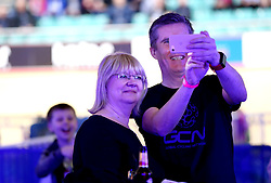 A general view of fans posing for a selfie on Day Three of the Six Day Series Manchester at the HSBC UK National Cycling Centre.