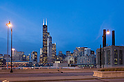 Chicago's skyline from Roosevelt Road at twilight