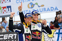 09 Volkswagen Motorsport II, Mikkelsen Andreas, Floene Ola, Volkswagen Polo Wrc, podium victory during the 2015 WRC World Rally Car Championship, rally of Spain from October 22h to 25th, at Salou, Spain. Photo Francois Baudin / DPPI