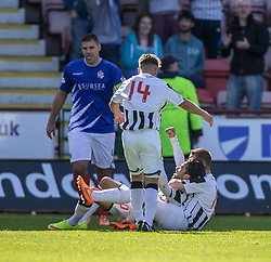 Dunfermline's Faissal El Bahktaoui (on ground) cele scoring their fifth goal. <br /> Dunfermline 5 v 1 Cowdenbeath, Scottish League Cup game played today at East End Park.