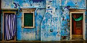 Doors and wall, Burano, Italy.