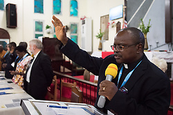 31 October 2019, Monrovia, Liberia: Bishop Jensen Seyenkulo shares the benediction as the Lutheran World Federation launches an SDG mapping for Liberia in Saint Peter Lutheran Church. The event takes place during the annual global meeting of the Waking the Giant initiative of the Lutheran World Federation.