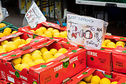 Boxes of lemons at an outdoor fresh fruit and vegetable market stall with a price guide that marks them as being Spanish produce on 4th September, 2021 in Leeds, United Kingdom. A combination of Brexit and Covid-19 is reportedly exacerbating an already severe staff shortage in the British food industry, with a lack of fruit and vegetable pickers that could see a hike in food prices across the country.