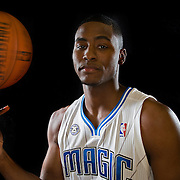 Maurice Harkless poses in front of a backdrop during the Orlando Magic media day event at the Amway Arena on Monday, September 30, 2103 in Orlando, Florida. (AP Photo/Alex Menendez)