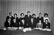 22/03/1963<br /> 03/22/1963<br /> 22 March 1963<br /> New Committee of the Kerrymans Association in Dublin. The committee for 1963 was elected at the Annual General Meeting of the Kerrymans Association at Jury's Hotel, Dublin. Picture shows front row (l-r): Bat Moriarty (Caherciveen) Honorary Treasurer; Rev. Fr. M. Heffernan (Castleisland); Mr. P.J. Moriarty (Dingle) Chairman; Mr. Jerome O'Shea (Caherciveen) Vice Chairman; Kitty Nash (Kenmare) Honorary Secretary and Mr. Dan O'Leary (Killorglin) Assistant Treasurer. Back row (l-r): Pat Diggin, (Causeway); Mary Palmer (Kenmare); Kathleen O'Brien (Glenflesk); Kevin Coffey (Beaufort); Nancy Touhy (Kenmare); Colm O'Connor (Ballinskelligs), committee members and Peggy Crowley (Killarney) Assistant Secretary.