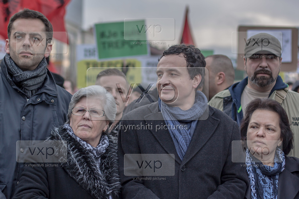 Jan. 24, 2015 - Prishtina, Kosovo - It was the biggest protest seen in Pristina since Kosovo declared independence from Serbia in 2008. The ethnic Albanian party leader Albin Kurti (in picture) demanded the resignation of a minister, Aleksandar Jablanovic from the Serb minority, who earlier this month called some ethnic Albanians savages. They also want the government to announce clear plans for the future of the country's wealthiest mine, which is claimed also by Serbia. (Credit Image: © Vedat Xhymshiti/ZUMA Wire)