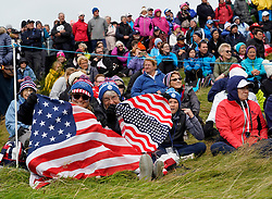 Auchterarder, Scotland, UK. 14 September 2019. Saturday morning Foresomes matches  at 2019 Solheim Cup on Centenary Course at Gleneagles. Pictured; Large group of spectators and Team USA fans viewing from beside the 9th fairway. Iain Masterton/Alamy Live News