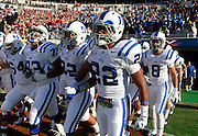 CHARLOTTESVILLE, VA- NOVEMBER 12: Duke Blue Devil players walk onto the field before the game against the Virginia Cavaliers on November 12, 2011 at Scott Stadium in Charlottesville, Virginia. Virginia defeated Duke 31-21. (Photo by Andrew Shurtleff/Getty Images) *** Local Caption ***