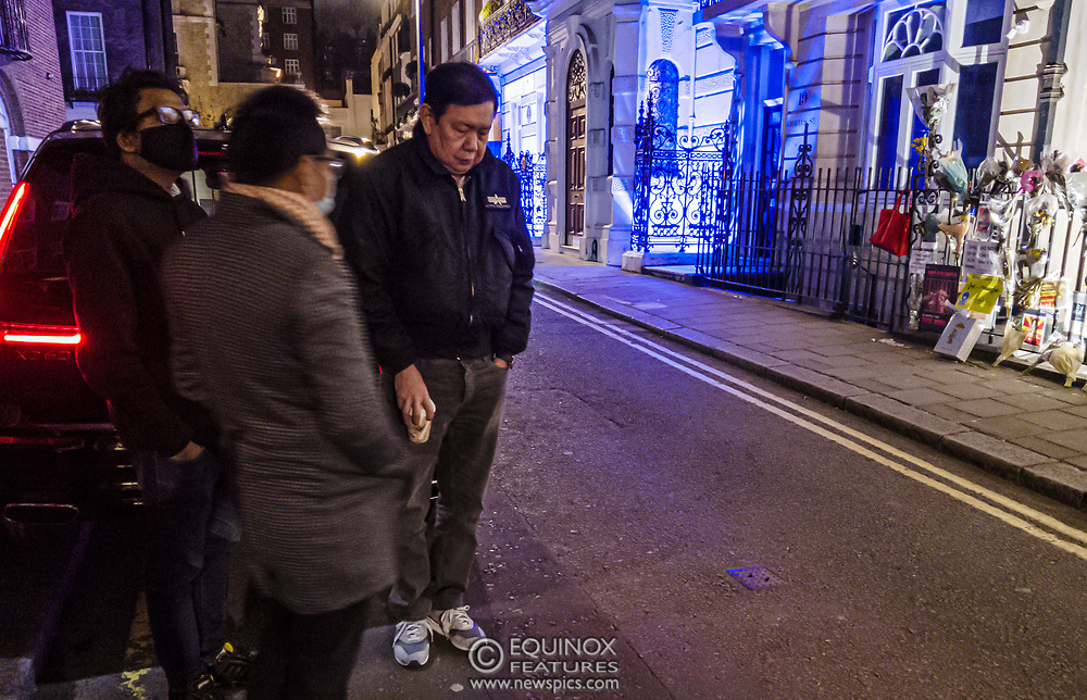 London, United Kingdom - 7 April 2021<br /> Myanmar's UK ambassador, Kyaw Zwar Minn waits outside the Myanmar embassy with his diplomatic car after being refused entry. It is claimed that this was orchestrated by his deputy, Chit Win with the assistance of the military attaché. The ambassador has called it 'a kind of coup'.<br /> (photo by: EQUINOXFEATURES.COM)<br /> Picture Data:<br /> Photographer: Equinox Features<br /> Copyright: ©2021 Equinox Licensing Ltd. +443700 780000<br /> Contact: Equinox Features<br /> Date Taken: 20210407<br /> Time Taken: 22064800<br /> www.newspics.com<br /> <br /> *Editor Notes:<br /> Panoramic Image consisting of image sequence taken over a few seconds.<br /> *Content is supplied subject to the rights usage terms below in addition to our standard terms and conditions*