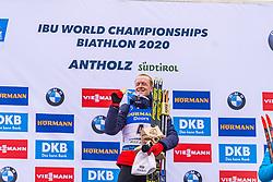 23.02.2020, Suedtirol Arena, Antholz, ITA, IBU Weltmeisterschaften Biathlon, Herren, Massenstart, Siegerehrung, im Bild Weltmeisterin und Goldmedaillengewinnerin Johannes Thingnes Boe (NOR) // World champion and gold medalist Johannes Thingnes Boe of Norway during the winner ceremony for the men's mass start of IBU Biathlon World Championships 2020 at the Suedtirol Arena in Antholz, Italy on 2020/02/23. EXPA Pictures © 2020, PhotoCredit: EXPA/ Stefan Adelsberger