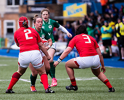 Nicole Fowley of Ireland  under pressure from Carys Phillips of Wales<br /> <br /> Photographer Simon King/Replay Images<br /> <br /> Six Nations Round 5 - Wales Women v Ireland Women- Sunday 17th March 2019 - Cardiff Arms Park - Cardiff<br /> <br /> World Copyright © Replay Images . All rights reserved. info@replayimages.co.uk - http://replayimages.co.uk