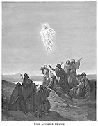 The Ascension (or Jesus ascends to Heaven) [Mark 16:19] From the book 'Bible Gallery' Illustrated by Gustave Dore with Memoir of Dore and Descriptive Letter-press by Talbot W. Chambers D.D. Published by Cassell & Company Limited in London and simultaneously by Mame in Tours, France in 1866