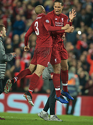 BRITAIN-LIVERPOOL-FOOTBALL-UEFA CHAMPIONS LEAGUE-LIVERPOOL VS FC BARCELONA..(190507) -- LIVERPOOL, May 7, 2019  Liverpool's Virgil van Dijk (R) celebrates with teammate Fabio Henrique Tavares 'Fabinho' after the UEFA Champions League Semi-Final second Leg match between Liverpool FC and FC Barcelona at Anfield in Liverpool, Britain on May 7, 2019. Liverpool won 4-3 on aggregate and reached the final. FOR EDITORIAL USE ONLY. NOT FOR SALE FOR MARKETING OR ADVERTISING CAMPAIGNS. NO USE WITH UNAUTHORIZED AUDIO, VIDEO, DATA, FIXTURE LISTS, CLUBLEAGUE LOGOS OR ''LIVE'' SERVICES. ONLINE IN-MATCH USE LIMITED TO 45 IMAGES, NO VIDEO EMULATION. NO USE IN BETTING, GAMES OR SINGLE CLUBLEAGUEPLAYER PUBLICATIONS. (Credit Image: © Xinhua via ZUMA Wire)