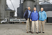 SHOT 10/29/18 9:47:19 AM - Sunrise Cooperative is a leading agricultural and energy cooperative based in Fremont, Ohio with members spanning from the Ohio River to Lake Erie. Sunrise is 100-percent farmer-owned and was formed through the merger of Trupointe Cooperative and Sunrise Cooperative on September 1, 2016. Photographed at the Clyde, Ohio grain elevator was George D. Secor President / CEO and John Lowry<br /> Chairman of the Board of Directors with  CoBank RM Gary Weidenborner. (Photo by Marc Piscotty © 2018)