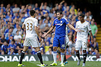 Chelsea's Diego Costa reacts after being brought down by Swansea City's Federico Fernandez and appealing for a penalty<br /> <br /> Photographer Craig Mercer/CameraSport<br /> <br /> Football - Barclays Premiership - Chelsea v Swansea City - Saturday 8th August 2015 - Stamford Bridge - London<br /> <br /> © CameraSport - 43 Linden Ave. Countesthorpe. Leicester. England. LE8 5PG - Tel: +44 (0) 116 277 4147 - admin@camerasport.com - www.camerasport.com