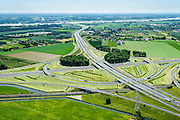 Nederland, Gelderland, Gemeente Overbetuwe, 09-06-2016; knooppunt Valburg, kruising A50 met A15 gezien naar rivier de Waal. Betuweroute in de voorgrond.<br /> Valburg junction, A50 and A15, Betuweroute.<br /> <br /> luchtfoto (toeslag op standard tarieven);<br /> aerial photo (additional fee required);<br /> copyright foto/photo Siebe Swart