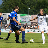 01.08.2020, C-Team Arena, Ravensburg, GER, WFV-Pokal, FV Ravensburg vs SSV Ulm 1846 Fussball, <br /> DFL REGULATIONS PROHIBIT ANY USE OF PHOTOGRAPHS AS IMAGE SEQUENCES AND/OR QUASI-VIDEO, <br /> im Bild Moritz Jeggle (Ravensburg, #5), Vinko Sapina (Ulm, #22)<br /> <br /> Foto © nordphoto / Hafner