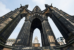 Wide angle view of The Sir Walter Scott Monument on Princes Street in Edinburgh, Scotland, UK