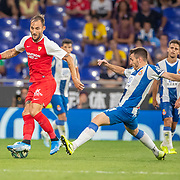 BARCELONA, SPAIN - August 18:  Nemanja Gudelj #17 of Sevilla challenged by Victor Campuzano #31 of Espanyol during the Espanyol V  Sevilla FC, La Liga regular season match at RCDE Stadium on August 18th 2019 in Barcelona, Spain. (Photo by Tim Clayton/Corbis via Getty Images)