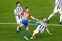Atletico de Madrid's Koke Resurrecccion (c) and Real Sociedad's Esteban Granero (l) and Inigo Martinez during La Liga match. April 4,2017. (ALTERPHOTOS/Acero)