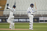 Yorkshire Jack Leaning  gets to his 50 during the Specsavers County Champ Div 1 match between Warwickshire County Cricket Club and Yorkshire County Cricket Club at Edgbaston, Birmingham, United Kingdom on 24 April 2016. Photo by Simon Davies.