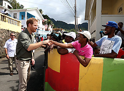 Prince Harry meets well wishers during a visit to the hillside village of Vermont on the island of Saint Vincent, St Vincent and the Grenadines, during the second leg of his Caribbean tour.