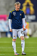 Innes Murray (#23) of Alloa Athletic FC during the warm up before the SPFL Championship match between Heart of Midlothian FC and Alloa Athletic FC at Tynecastle Park, Edinburgh, Scotland on 9 April 2021.