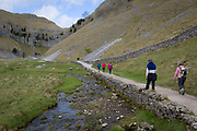 Walkers make their way towards Gordale Scar, on 12th April 2017, in Malham, in the Yorkshire Dales, England. Gordale Scar is a limestone ravine 1 mile 1.6 km northeast of Malham, North Yorkshire, England.[1] It contains two waterfalls and has overhanging limestone cliffs over 100 metres high. The gorge could have been formed by water from melting glaciers or a cavern collapse. The stream flowing through the scar is Gordale Beck, which on leaving the gorge flows over Janets Foss before joining Malham Beck two miles downstream to form the River Aire. A right of way leads up the gorge, but requires some mild scrambling over tufa at the lower waterfall.