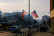 US flags fly on the street George Bush Boulevard (Xhorxh Bush) on the 13th of December 2018, in Pristina, the capital and largest city of Kosovo, it has a mainly Albanian population along with other smaller communities.  The street was named in honour of the US president to show appreciation for the military support received from the US during the Kosovo war with Yugoslavia.  (photo by Andrew Aitchison / In pictures via Getty Images)