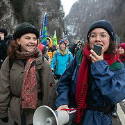 Strike WEF, a climate activist march on Davos. First day of the three day march on Davos. The march started in Landquarte with speeches and hot food went to Schiers to spend the first night.